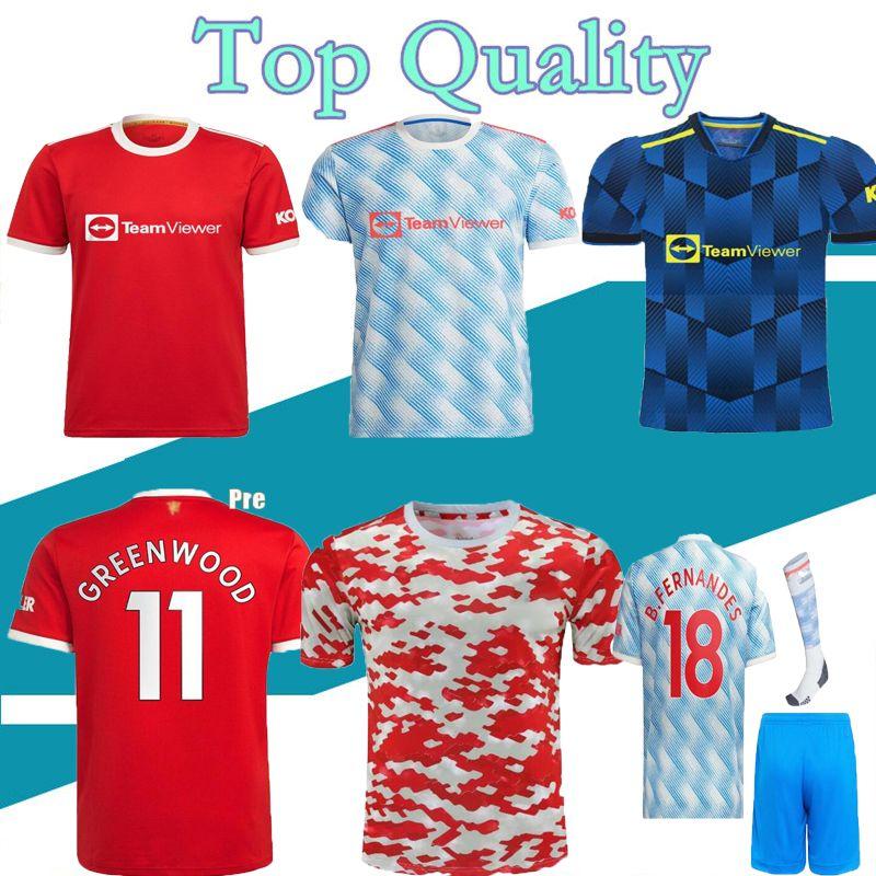 21 22 Sancho Rashford Soccer Jersey 2021 2022 Manchester Pogba Cavani Martial Shaw Utd Van de Beek B. Fernandes Lingard Greenwood Camisa de Futebol Unite Man Kids Kit
