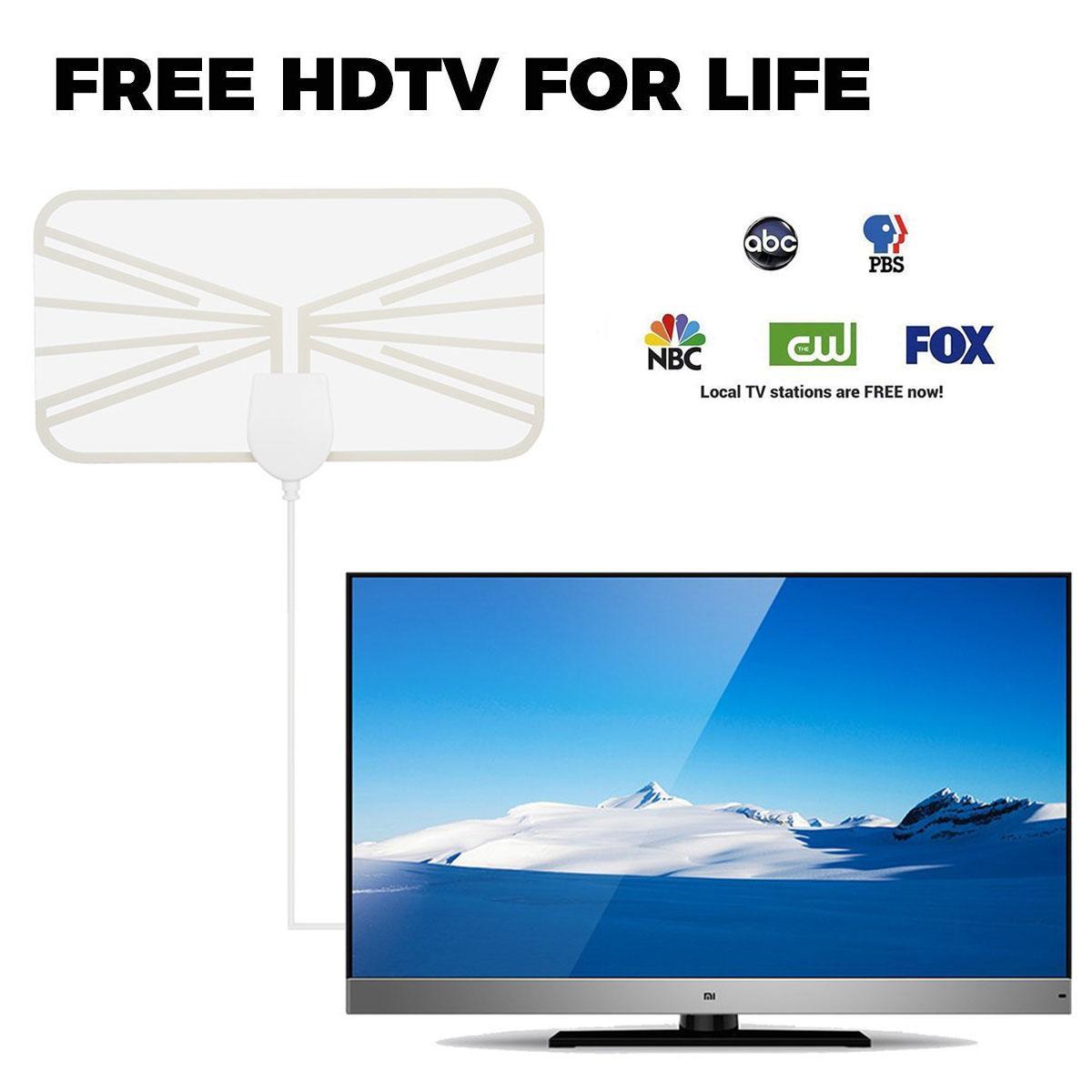Indoor Digital HDTV antenna 50 Mile Range Booster Singal Amplifier VHF UHF 1080P 4K DVB-T2 25 DBI TV Antennas receiver Aerial