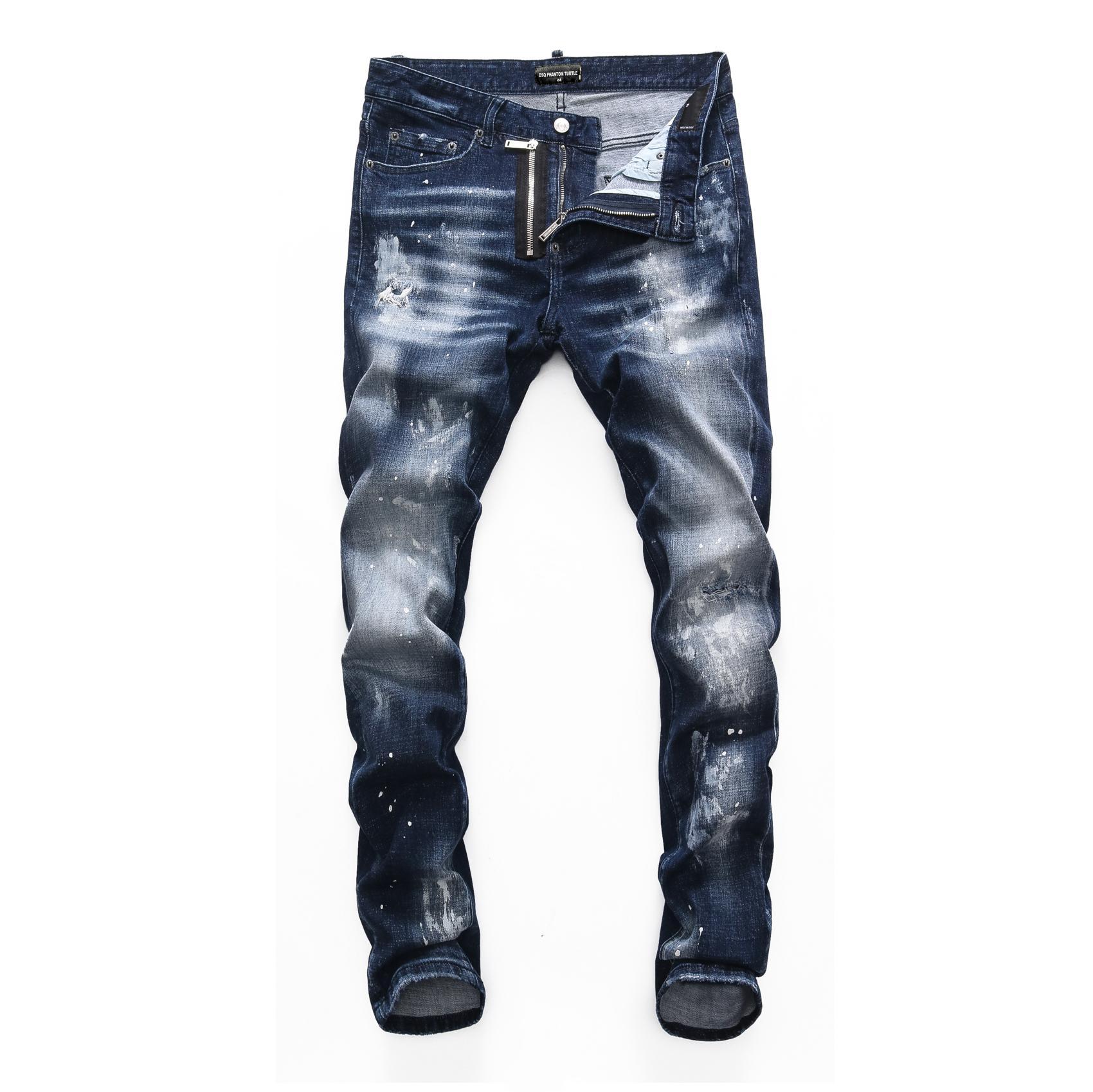 DSQ Phantomschildkröte Perfecto Waschen cooler Kerl Jeans Klassische Mode Mann Hip Hop Rock Moto Herren Casual Design Ripped Beunruhigte Skinny Denim Biker DSQ Jean 10852