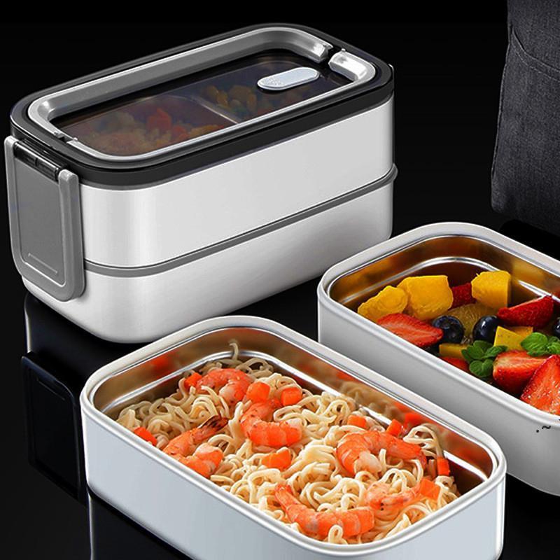 Dupla camada almoço caixa de aço inoxidável de aço inoxidável eco-friendly isolou armazenamento de embalagem de alimentos bento caixas com manter o saco quente OWE5611