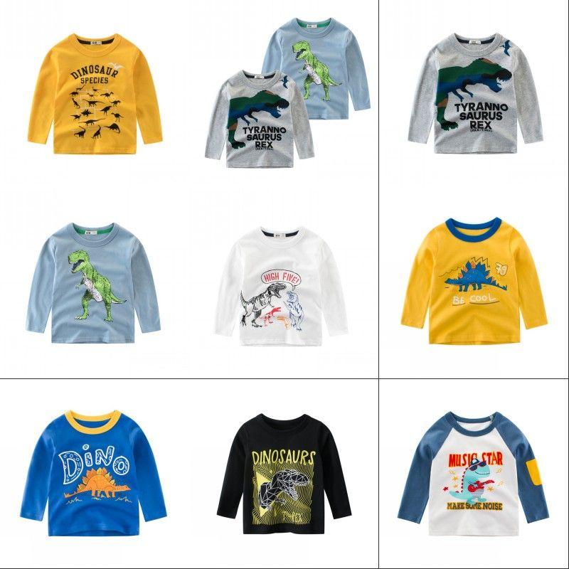 Children T Shirt Long Sleeves Kids Boys Girls Cotton Tops Baby Dinosaur Print Cartoon Clothing Tee 2-8 Years Clothes Full 1433 Y2