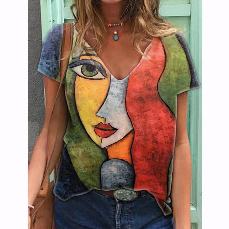 HARAJUKU T-Shirt Oversize Delle Donne Estate Casual Carattere Abstract Stampa T-Shirt Donne Barending Streetwear Y2K Manica corta Tees Donne