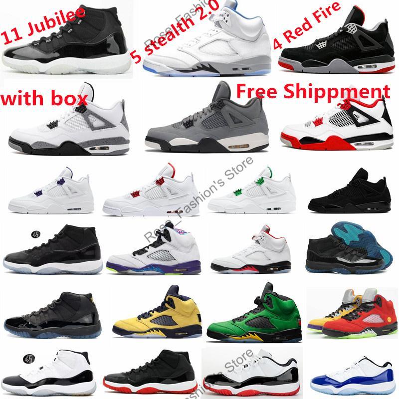 5 S 5 Stealth 2.0 Yangın Kırmızı Beyaz Çimento Erkek Basketbol Ayakkabıları 11 Jübile Bred Concords 4 S Kara Kedi Serin Gri Spor Sneakers