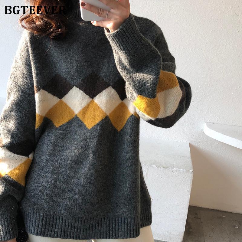 Frauenpullover BGTEEVER 2021 Winter Frauen Rollkragen-Plaid-Pullover All-Match-Loose-Vollhülse dicke weibliche Strickpullover-Pullover