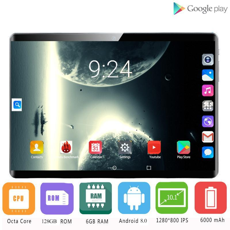 Tablet PC 2021 2.5D IPS 4G Android 9.0 Octa Core Google Spielen Die Tabletten 6 GB RAM 128 GB ROM WIFI GPS 10 'Stahlschirm 10