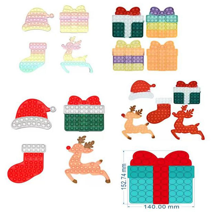 Fidget 장난감 할로윈 화려한 선물 상자 크리스마스 엘크 모자 양말 푸시 거품 아이 휴일 선물 컨트롤러 fidgets 손가락 장난감 놀람
