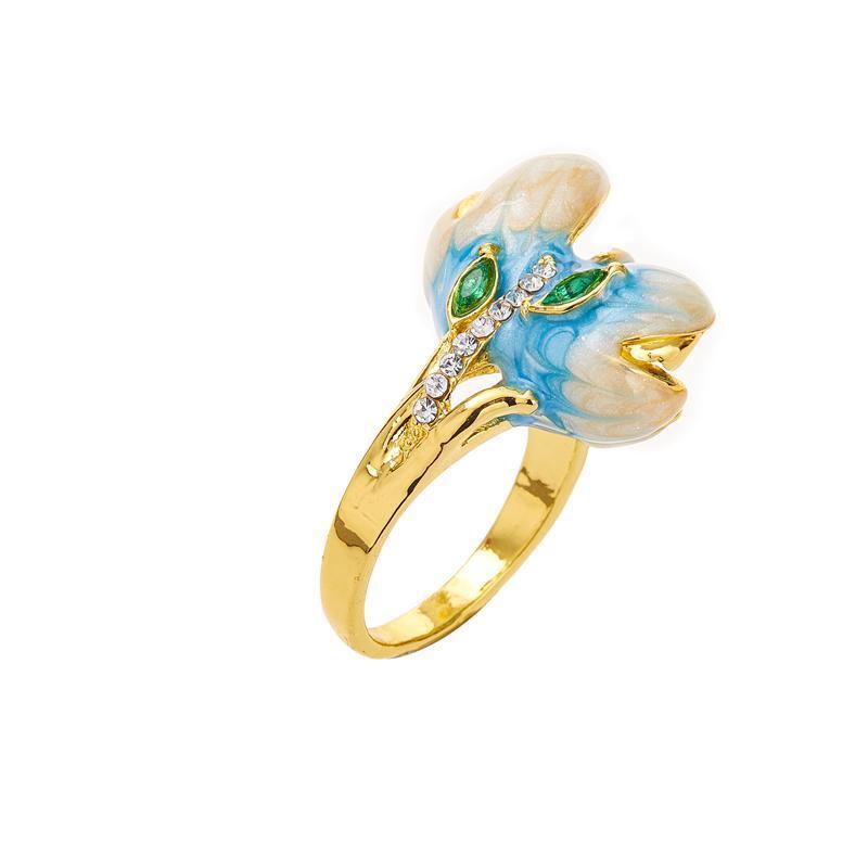 Eheringe Mode Exquisite Wunderschöne Orchidee Blumenring Frauen Valentinstag Exclusive Geschenk Noble Romantische Luxus Bankett Charme Juwel