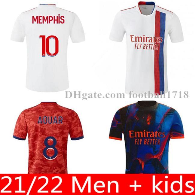 20 21 22 Olympique Lyon Maillot 발 축구 유니폼 2021 2022 Maillot de Football Shirt Traore Memphis Ol Lyonnais 남자 키즈 키트