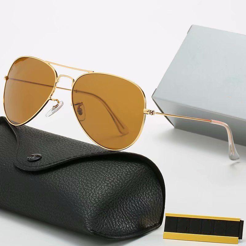 Brand Designer di lusso occhiali da sole moda uomo vintage pilota uomo donne uv400 specchio vetro classico ciclismo guida occhiali da Sole alta qualità con custodia in pelle
