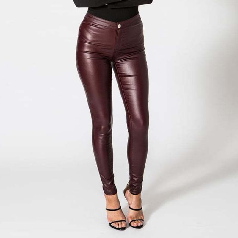 Women's Pants & Capris Plus Size S-xl Sexy Women Faux Leather MaLook Pant High Waist Stretch Black Slim Leggings#3