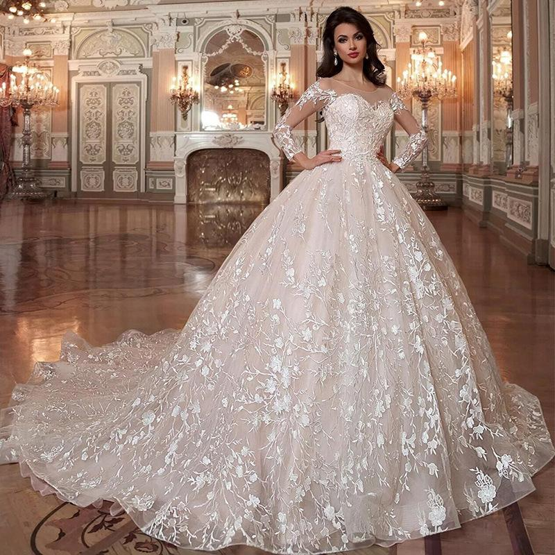 Princess Lace Ball Gown Wedding Dress For bride with Long sleeves Sheer Neck Beaded Waistline Court Train Lace-up Back Vestido De Noiva Plus Size Bridal Dresses Women