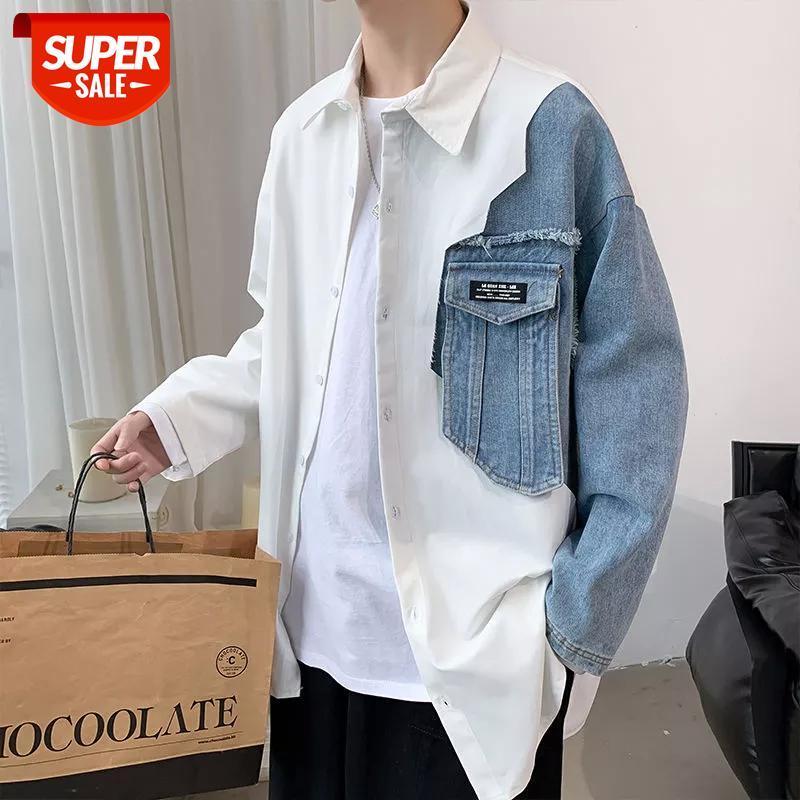 2020 erkek Yeni Denim Dikiş Uzun Kollu Hawaii Gömlek Camisa Masculina Streetwear Moda Giysileri Gömlek Büyük Boy M-5XL # OV3R
