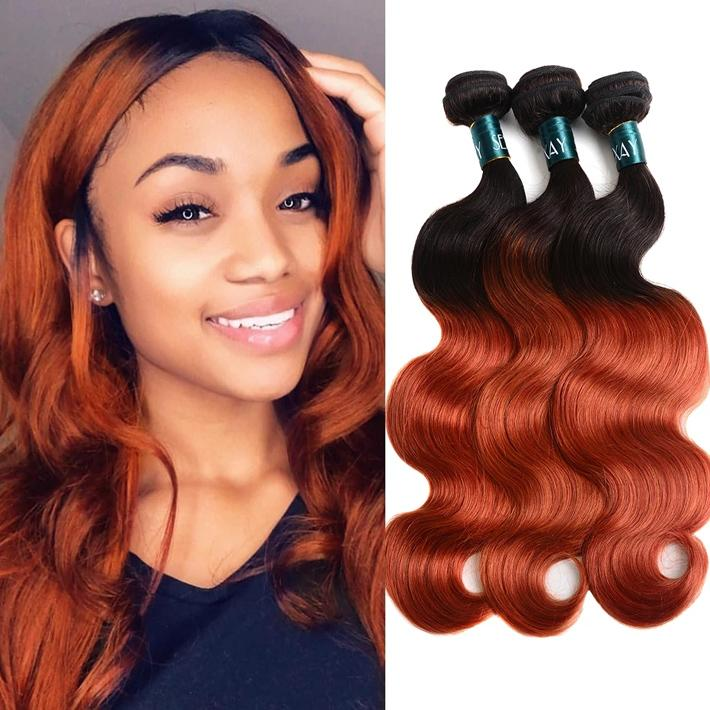 Two Tone 1B 350 Body Wave Bundles Ombre Raw Virgin Indian Human Hair Weave 3pcs Colored Orange Wavy Sew In Extensions Reinforced Double Weft