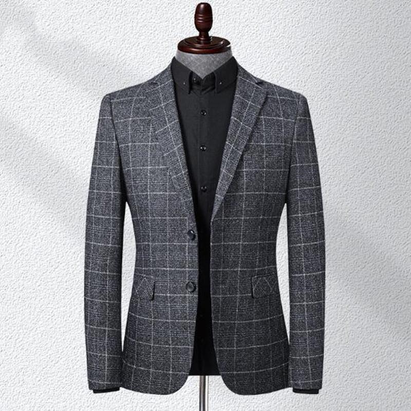 Blazer Blazer Fashion Business Tempo libero Grid Slim Fit Costume Homme Abito da sposa abito da sposa