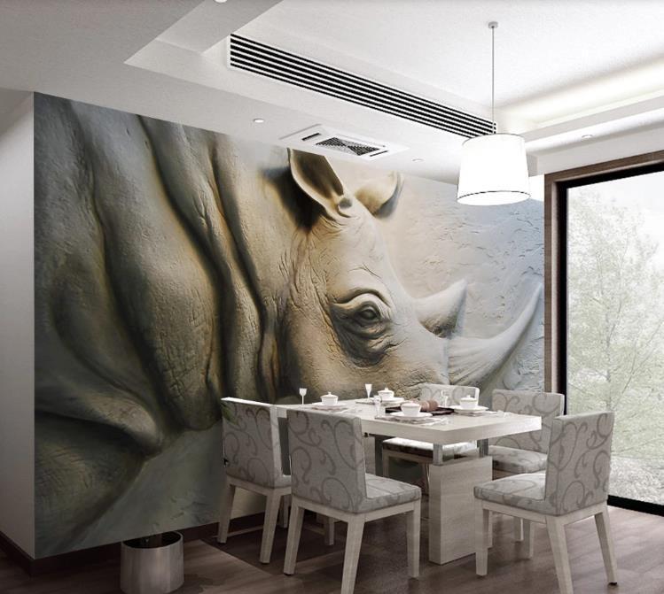 خلفيات مخصص بو 3d ورق الحائط ثلاثي الأبعاد الإغاثة حجر الكركدن غرفة المعيشة ديكور المنزل الجداريات خلفيات للجدران