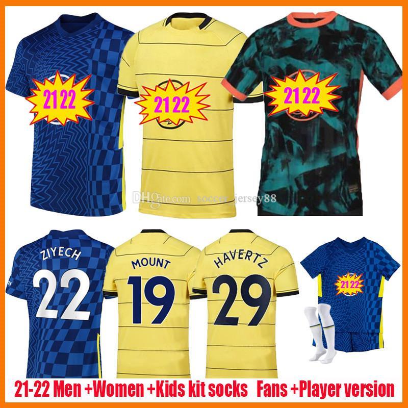 21 22 CFC Soccer Jerseys Fan Player Version Women Lady Ziyech Pulisic Mount Kante Havertz Werner Abraham Giroud 2021 2022 Kit Kit Kit Home Aley Jersey Football Shirt