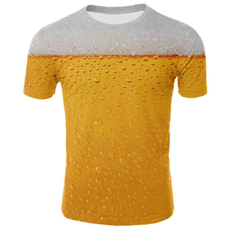 Cerveja impresiona Homens y Mulheres 3D Summer Casual Manga Casual COM con Escote Em o E Emit T-Shirt