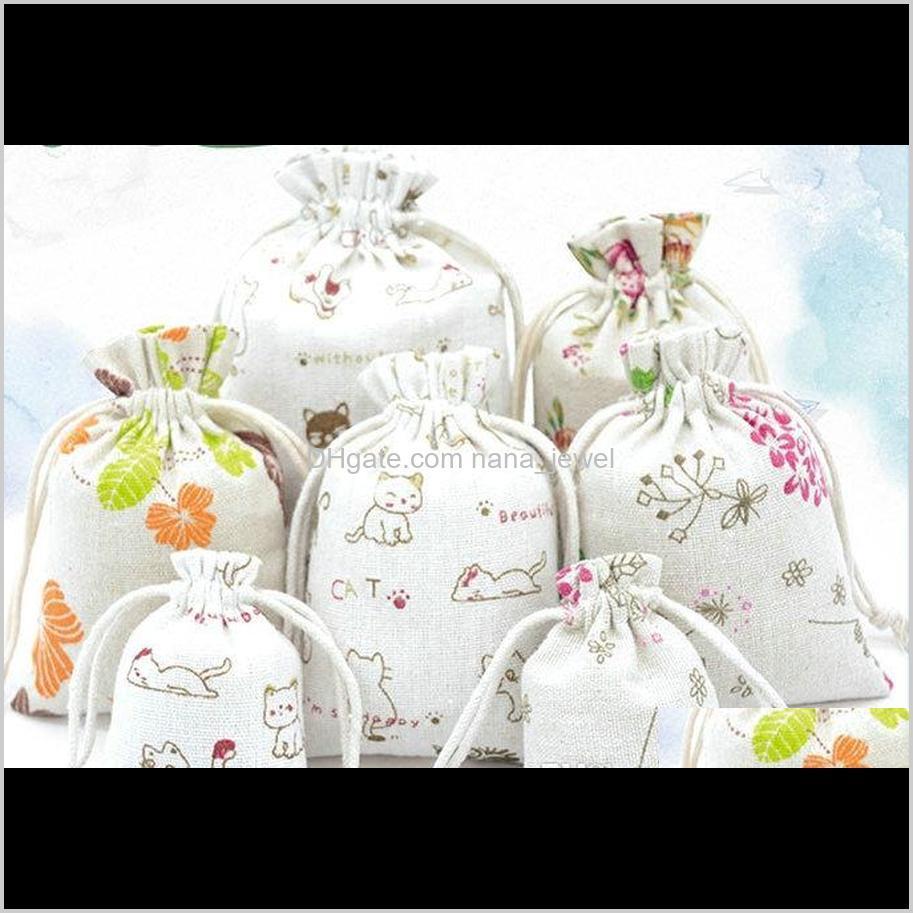 الحقائب عرض انخفاض التسليم 2021 3sizes الأزهار الأزهار الكتان الأصلي حقيبة dstring الزفاف أكياس التعبئة والتغليف هدية مجوهرات صغيرة الكيس مصغرة