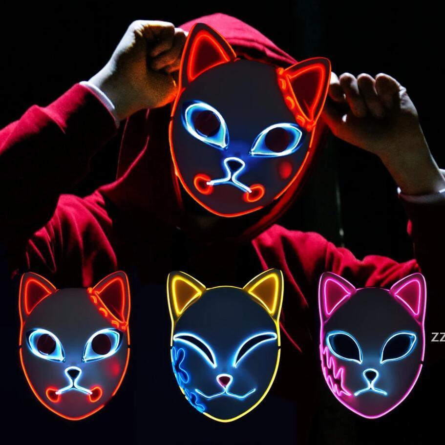 Fox Mask Halloween Partido Japonês Anime Cosplay Traje LED Masks Festival Favor Adereços 3 Cores HWF10046