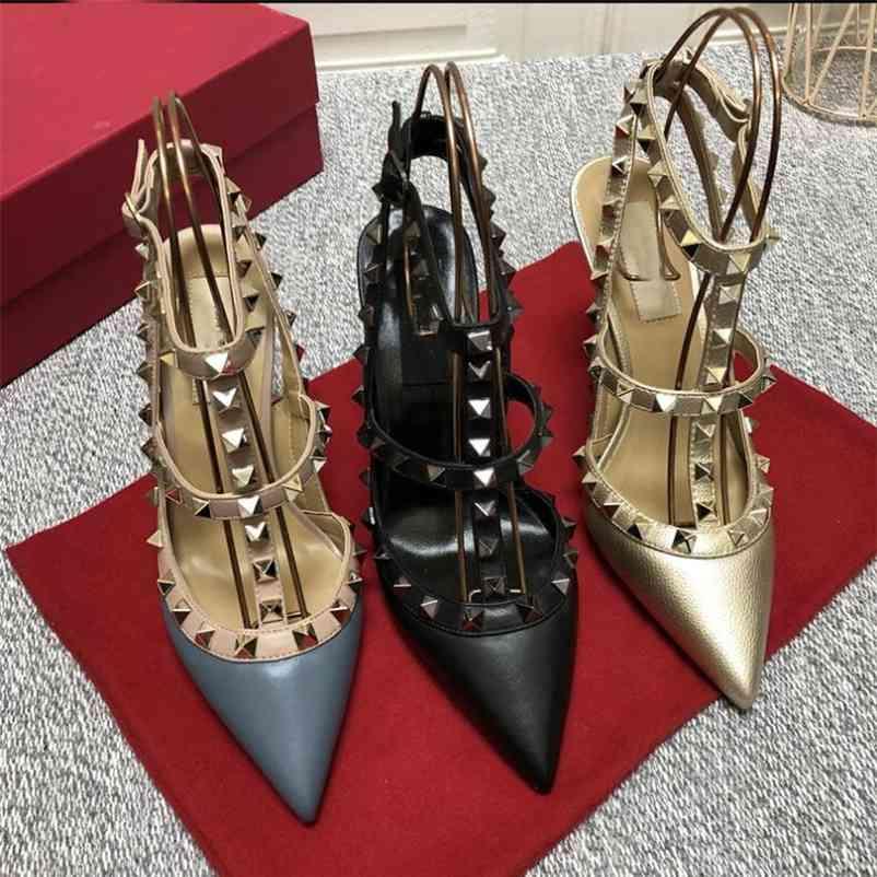 Designer Luxrise Sommer Frauen High Heel Spitze Sandalen mit Nieten Echtes Leder 6 cm 8 cm 10 cm Dame Hochzeitsschuhe 34-43 Staubbeutel 210610