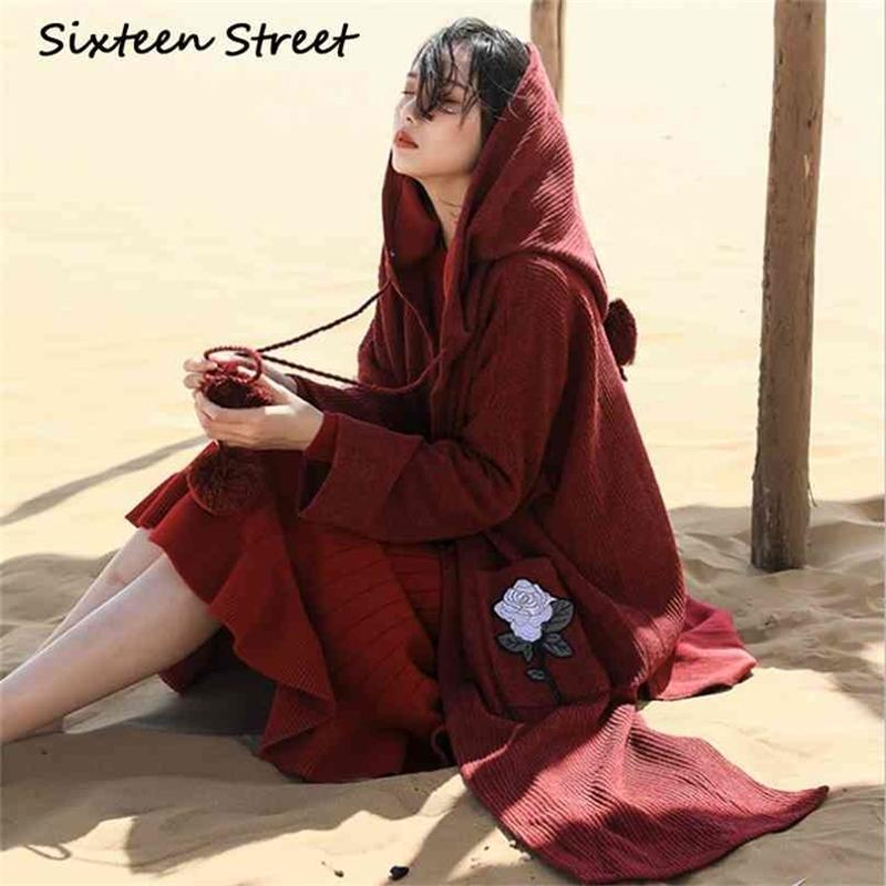 Onaltı Sokak Vintage Şarap Kırmızı Uzun Kazak Hırka Kadın Gül Nakış Cep Boho Kapşonlu Örgü Ceket Kadın Kış 210603