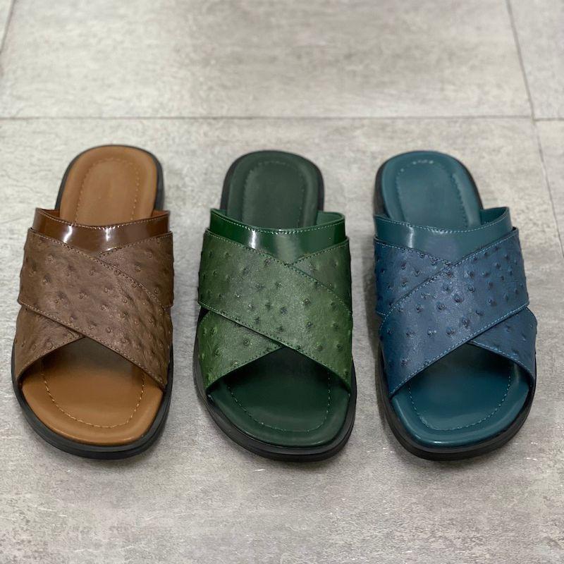 Foch Mules Slides SliSer Brun Black Hommes Hommes Sandal Designer Chaussures d'Impression Cuir Sandales Appartement Summer Plage Summer Flip Flop EU47 282