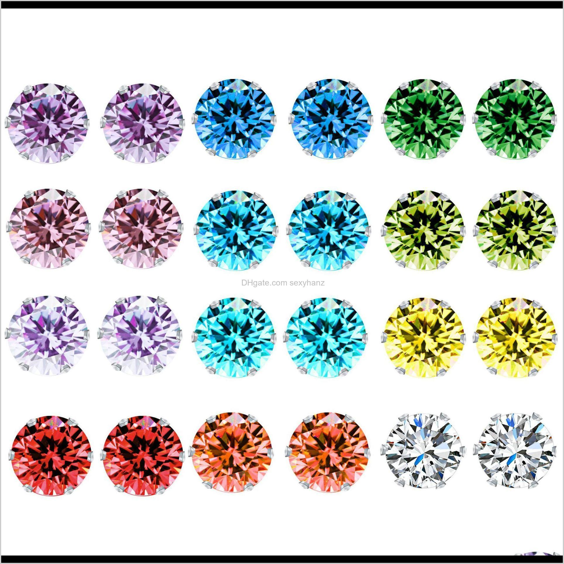 Jewelry Drop Delivery 2021 Crystal For Women Six Claw Rainbow Color Zircon Mens Stud Earrings 12Pairs/Set Christmas Gift Edyvc