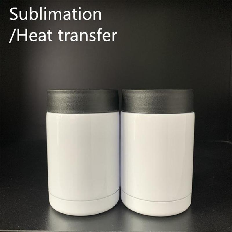 12oz DIY Sublimation Mugs Can Cooler Heat Transfer Stainless Steel Car Cup Double Wall Thermos With Lid