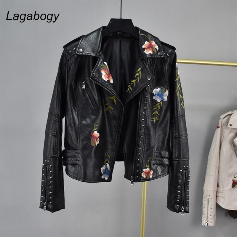 LagaBogie Spring Automne Femmes Veste Moto Moto Floral Imprimer Embroidery PU Couvertures Collier Femme Collier Zipper Faux Faux