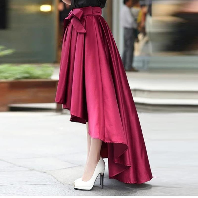 Skirts Elegant High-Low Dark Red Satin Skirt With Sash 2021 Women Cocktail Dresses Custom Made Fit Formal Evening Party Wear