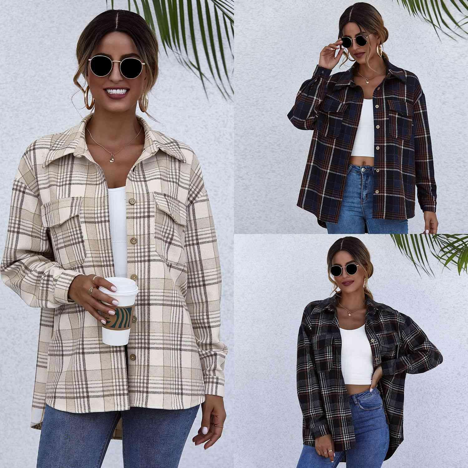 2021 Herbst und Winter Plaid Harajuku Strickjacke Single Breasted Long Sleeve Cotton Revers Shirt