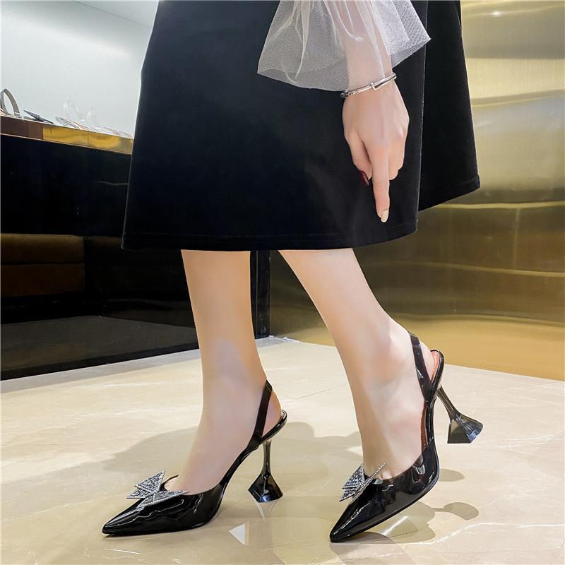 Eilyken 크기 34-45 여름 나비 - 매듭 여성 펌프 패션 이상한 스타일 Tranaparent 여성 힐 신발 결혼식 샌들 4565DadeGoagpo