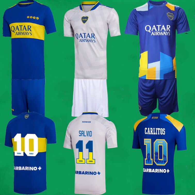 21 22 Boca Juniors Juniors Camisas 2021 2022 Home Away Terceiro Thevez Maradona de Rossi Abila Camisas de futebol conjuntos de homens + kits de crianças uniformes Maillot Foot