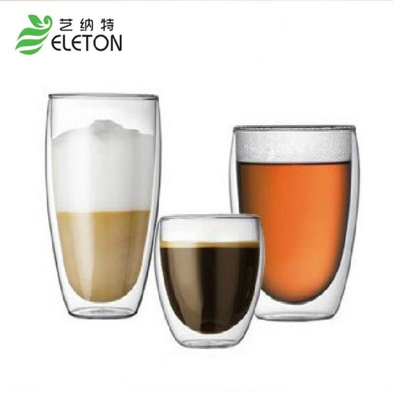 내열성 이중 벽 유리 컵 맥주 커피 세트 수제 크리 에이 티브 머그잔 차 머그잔 투명한 음료 와인 안경
