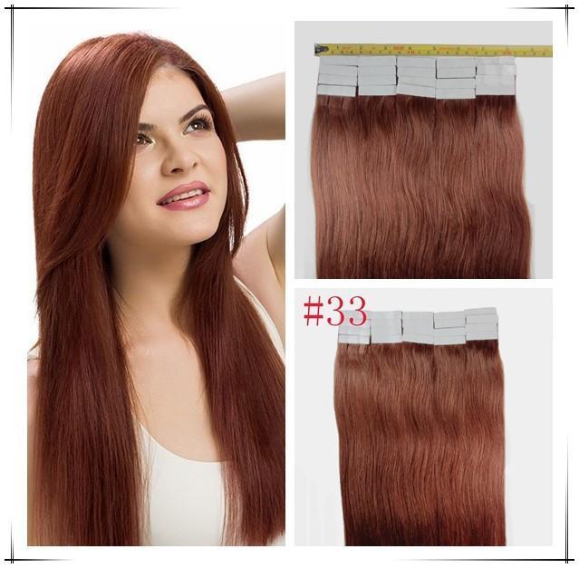 "7A 14"" - 24'' Wholesale 100% Human PU EMY Tape Skin Hair Extensions 2.5g/pcs 40pcs&100g/set color #33 dark auburn DHL FREE"