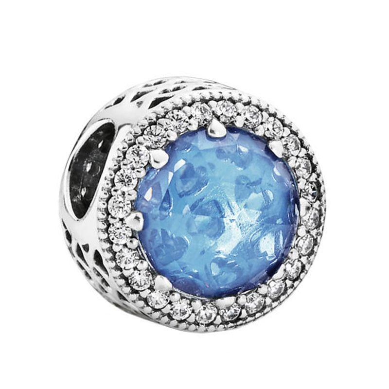 925 perles en argent sterling authentiques bijoux Fit Pandora bracelets breloques en argent abstrait avec ciel bleu cristal et CZ clair