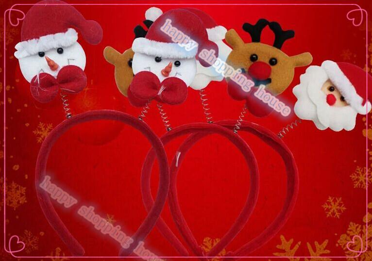 6 adet Ücretsiz kargo Yetişkin çocuk Noel partisi malzemeleri Santa Snowman fawn hoop toka parti Noel şapka headdress firkete hoop ...