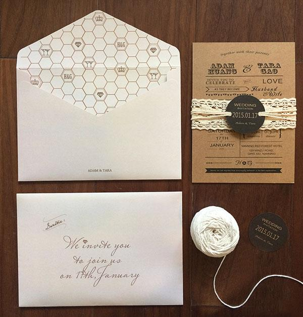 Customize Kraft Wedding Invitations Vintage Lace Wedding Invitation