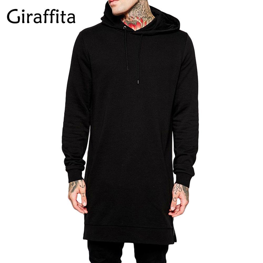 Männer Hoodies Sweatshirts Großhandel - Giraffita Männer Mit Kapuze Schwarz Hip Hop Mantel Mode Jacke Lange Ärmel Mannmäntel Outwear Streetwear