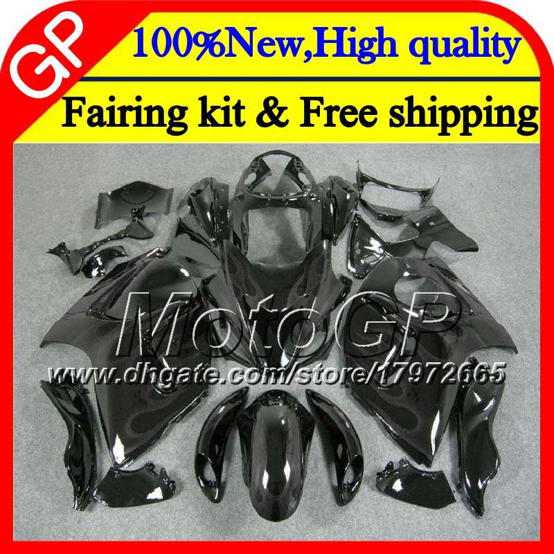 Karosserie für SUZUKI Hayabusa GSXR1300 08 09 10 11 42GP36 GSX R1300 12 13 14 15 GSXR 1300 2012 2013 2014 2015 Silber Flammen Motorradverkleidung