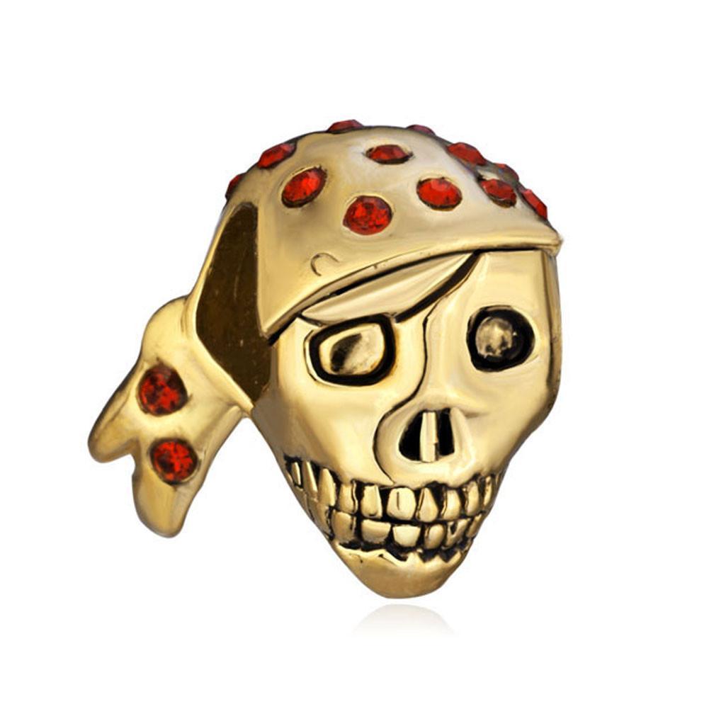 Счастливый 2017 Хэллоуин День красный кристалл череп шарик в золотое покрытие Европейский подходит Pandora DIY браслет