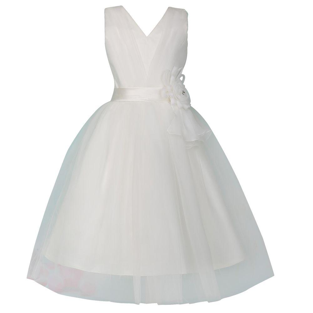 V Neck Glitz Pageant Dresses For Little Girls Two Layers Flower Girl Dress White First Communion Dresses For Girls