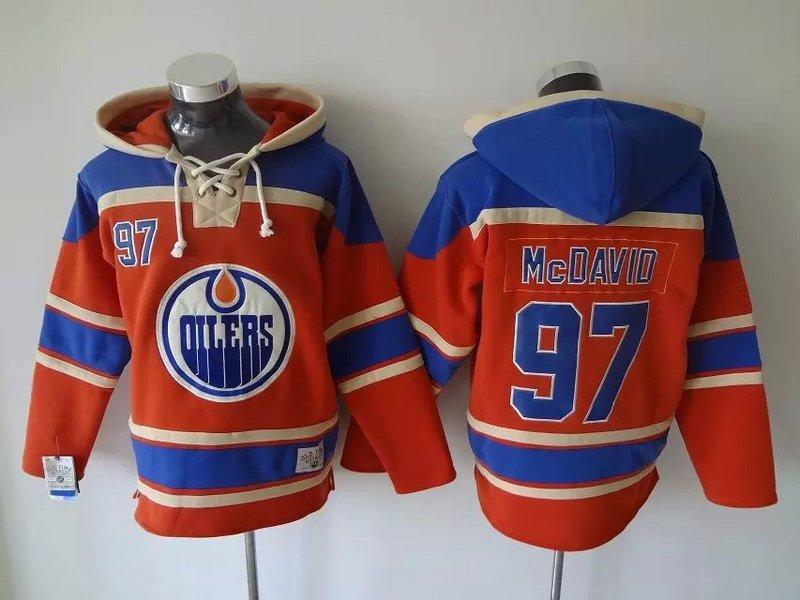 최고 품질 ! 에드먼턴 오일 러스 올드 타임 하키 유니폼 # 97 Connor McDavid 파란 오렌지 까마귀 스웨터 스포츠 스웨터 겨울 자켓