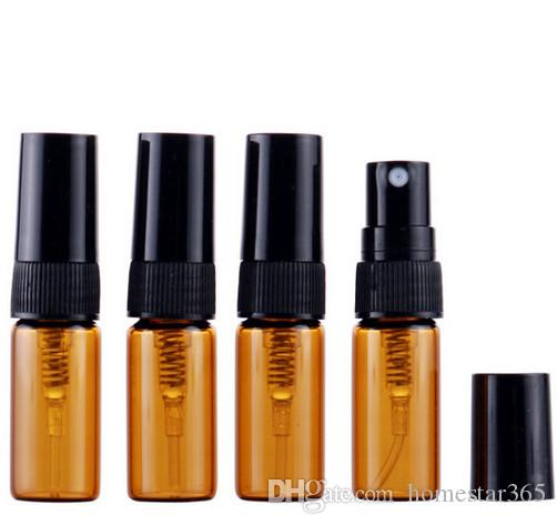 3ml Brown Mini Glass Spray Bottle Sample Mist Sprayer Perfume Display Glass Container Refillable Atomizer Vial