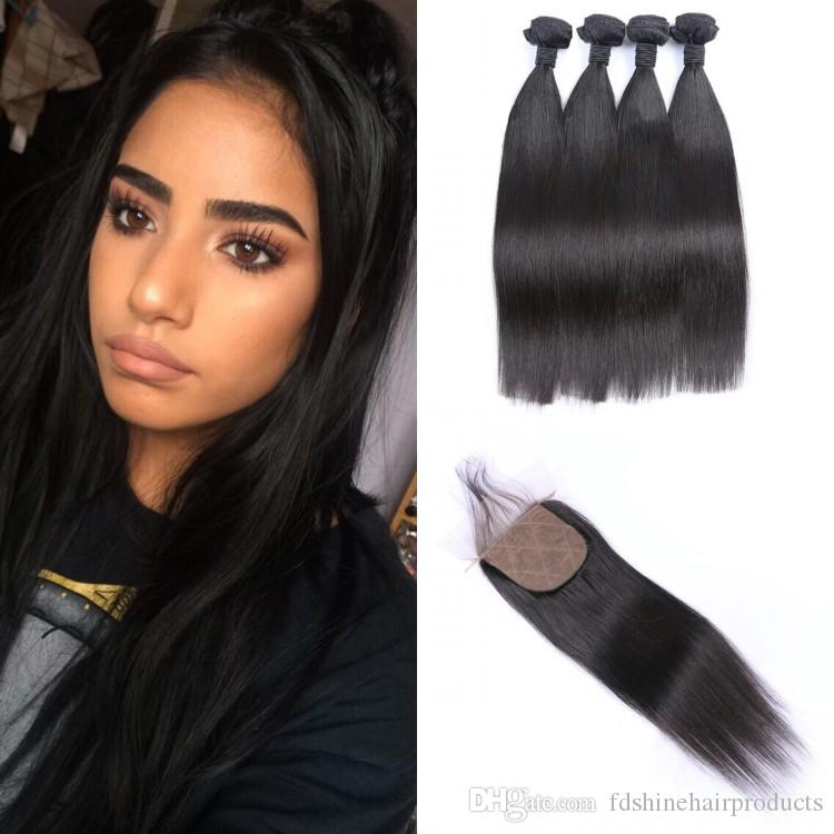 Brazilian Straight Virgin Hair Weave Bundles and Silk Base Closure 4X4 Human Hair Extension With Closure FDshine HAIR