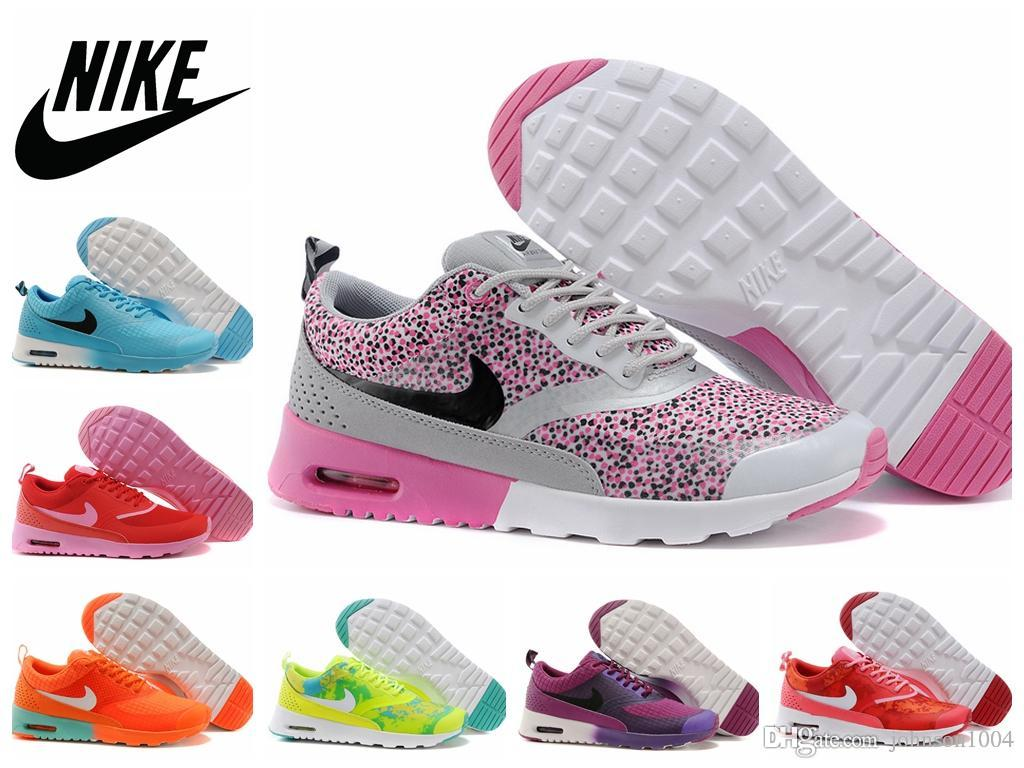 NIKE AIR MAX Thea Print Running Shoes 2015 Cheap Women Airmax 87 Sports Shoes Discount Leopard Air Max 90 Athletic Shoes For Lady And Girl Trainers