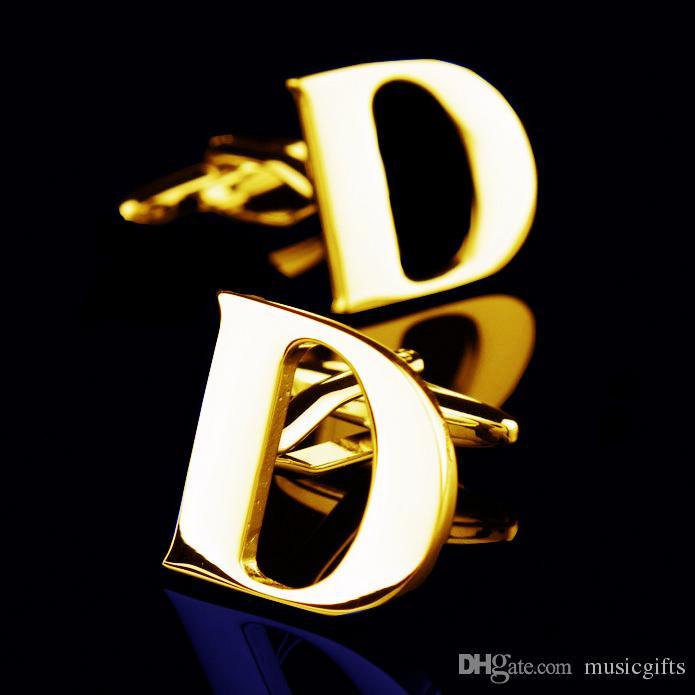 Золото 26 Буквы Запонки D Письмо Запонки Французский Запонки Рождественские Подарки