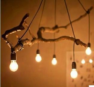 дерева DIY медитируют на ветви вилочного освещения лампы и фонари аксессуары E27 высокотемпературном лампа droplight линии