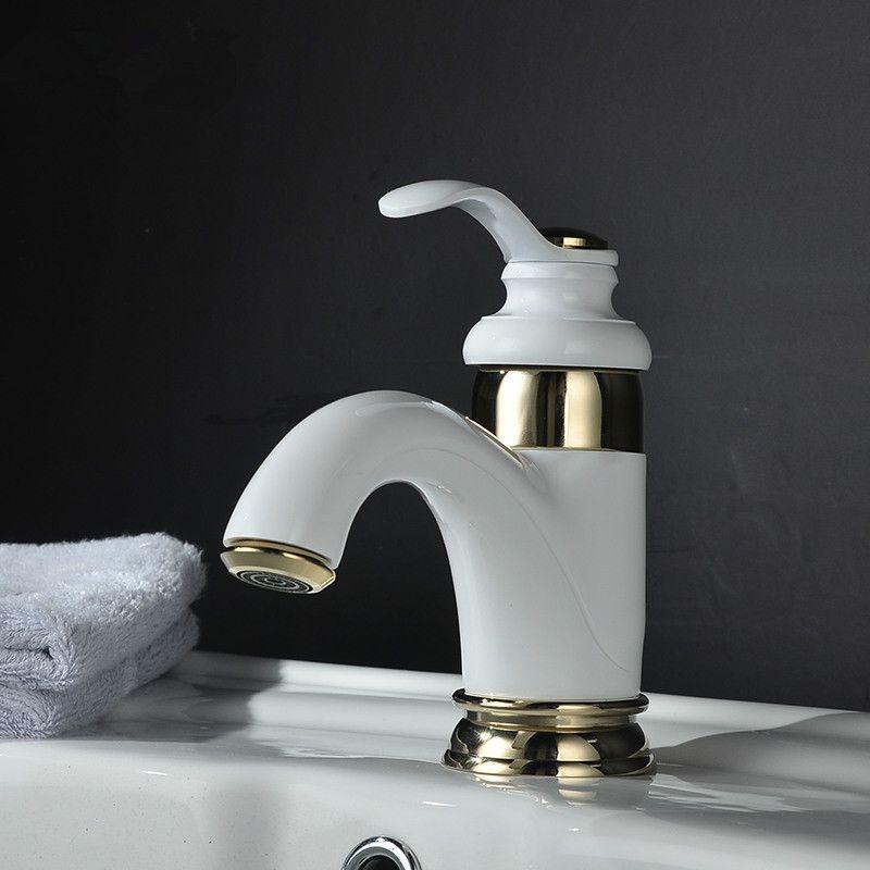 Beyaz seramik su ısıtıcısı dikey havza musluk Mutfak banyo musluk soğuk musluk deliği Toptan ve perakende ücretsiz kargo