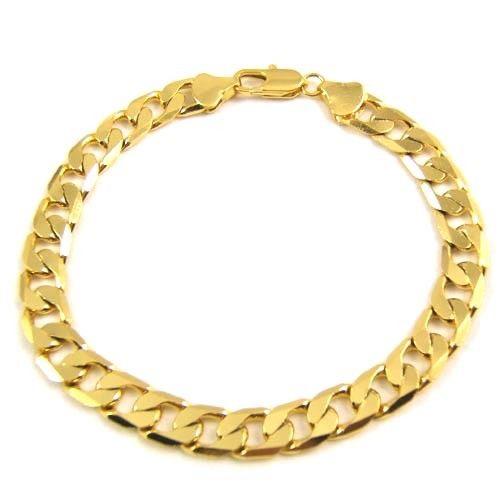 правдивее 100% 24K мужская желтое золото 9 дюймов 23 см 10 мм нет Камня Бриллиантовая цепь браслет день рождения Vday подарок бесплатная доставка Алмаз